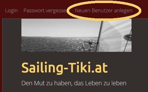 Benutzer anlegen - www.sailing-tiki.at Anmelden
